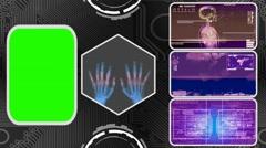 Hands - Three Monitor Scanning Info - Green Screen - purple 01 Stock Footage