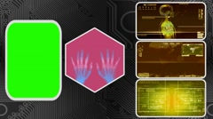 Hands - Three Monitor Scanning Info - Green Screen - yellow 03 - stock footage