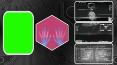 Hands - Three Monitor Scanning Info - Green Screen - grey 03 - stock footage