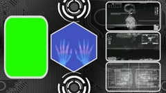 Hands - Three Monitor Scanning Info - Green Screen - grey 02 - stock footage