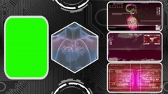Heart - Three Monitor Scanning Info - Green Screen - red 03 - stock footage