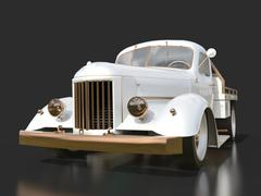 Old restored pickup. Pick-up in the style of hot rod. 3d illustration. White  - stock illustration