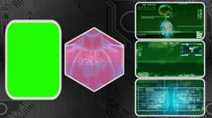 Heart - Three Monitor Scanning Info - Green Screen - green 01 Stock Footage