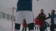Soccer Goalkeeper Defending Goal - stock footage