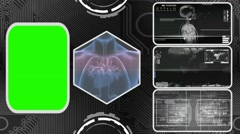 Heart - Three Monitor Scanning Info - Green Screen - grey 03 - stock footage