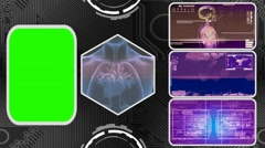 Heart - Three Monitor Scanning Info - Green Screen - purple 03 - stock footage