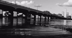 Commerce Bridge and Flooded Trinity  In Dallas Stock Footage