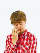 Portrait of boy in sorrow Stock Photos
