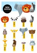 Set of cute animal icons wildlife - stock illustration