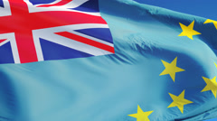 Tuvalu flag in slow motion seamlessly looped with alpha - stock footage