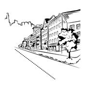 Black and white street in the city - stock illustration