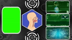 Nose - Three Monitor Scanning Info - Green Screen - green 02 Stock Footage
