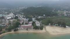 Aerial Mui Wo, Lantau Island Hong Kong Stock Footage
