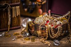 Pirate treasure chest - stock photo