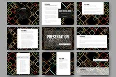 Set of 9 templates for presentation slides. Material Design. Colored vector - stock illustration