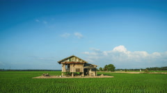 Time lapse of clouds at the paddy fields. Stock Footage