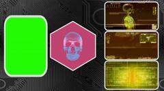 Skull - Three Monitor Scanning Info - Green Screen - yellow 03 Stock Footage