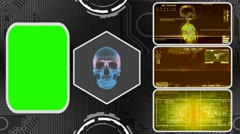Skull - Three Monitor Scanning Info - Green Screen - yellow  01 Stock Footage