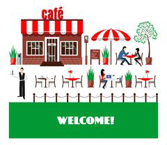 Restaurant or cafe illustration in flat style. Vector - stock illustration
