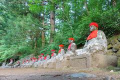 Wide angle of statues in Nikko - stock photo