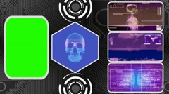 Skull - Three Monitor Scanning Info - Green Screen - purple 02 Stock Footage