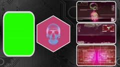 Skull - Three Monitor Scanning Info - Green Screen - red 03 Stock Footage