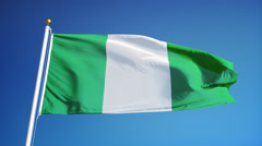 Nigeria flag in slow motion seamlessly looped with alpha - stock footage
