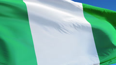 Nigeria flag in slow motion seamlessly looped with alpha Stock Footage