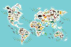 Cartoon animal world map for children and kids, Animals from all over the wor Piirros