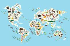 Cartoon animal world map for children and kids, Animals from all over the world Piirros