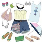 Summer clothes collection for young women and girl Stock Illustration