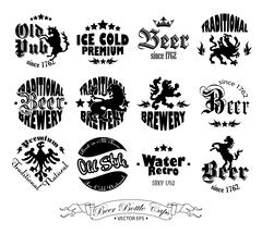 Set of twelve drawings on beer caps Stock Illustration