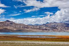 Mountain lake Tso Kar in Himalayas - stock photo