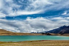 Himalayan lake Kyagar Tso, Ladakh, India - stock photo