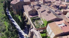 Pienza Panoramic Aerial View Stock Footage