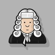 Contour icon judge in a wig and gown Stock Illustration