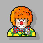 clown icon dressed in polka dots in the contour style - stock illustration