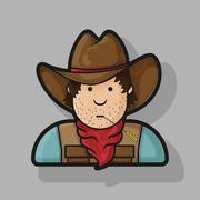 Contour flat character cowboy icon hat and cape Stock Illustration