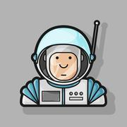 contour icon cute astronaut in a suit and helmet - stock illustration