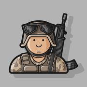 Icon Soldier in uniform with a gun in camouflage and helmet - stock illustration