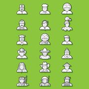 Large set of contour avatars of different characters Piirros