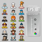 large set of contour avatars of different characters - stock illustration