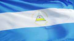 Nicaragua flag in slow motion seamlessly looped with alpha Stock Footage