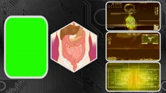 Vector Digestion - Three Monitor Scanning Info - Green Screen - yellow 01 - stock footage
