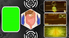 Vector Digestion - Three Monitor Scanning Info - Green Screen - yellow 02 - stock footage