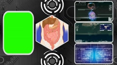 Vector Digestion - Three Monitor Scanning Info - Green Screen - blue 02 - stock footage