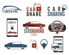 Car share logo designs set. Car Sharing vector concepts. Collective usage of - stock illustration