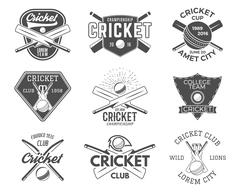 Set of cricket sports logo designs. Cricket icons vector set. Cricket emblems Stock Illustration