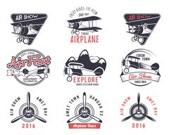 Vector old fly stamps. Travel or business airplane tour emblems. Biplane academy - stock illustration