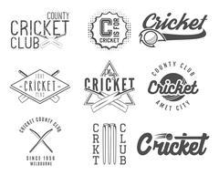 Set of cricket team emblem and design elements. Cricket championship logo - stock illustration